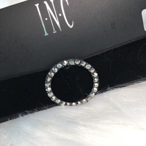INC Circle Black Velvet Choker Necklace